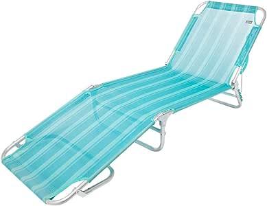 Aktive 53965 Tumbona multiposición aluminio Beach, 188 x 58 x 24 cm Azul mediterráneo
