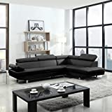 2 Piece Modern Contemporary Faux Leather Sectional Sofa - Black, White with Functional Armrest and Back support (Black)