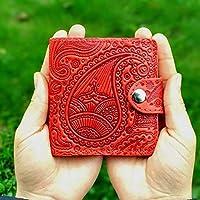 Red Wallet Bifold Wallet Occidental Paisley Wallet Handmade Wallet Top Grain Leather Woman Wallet RFID Blocking Real Leather Wristlet Card Holder Organizer Ladies Purse