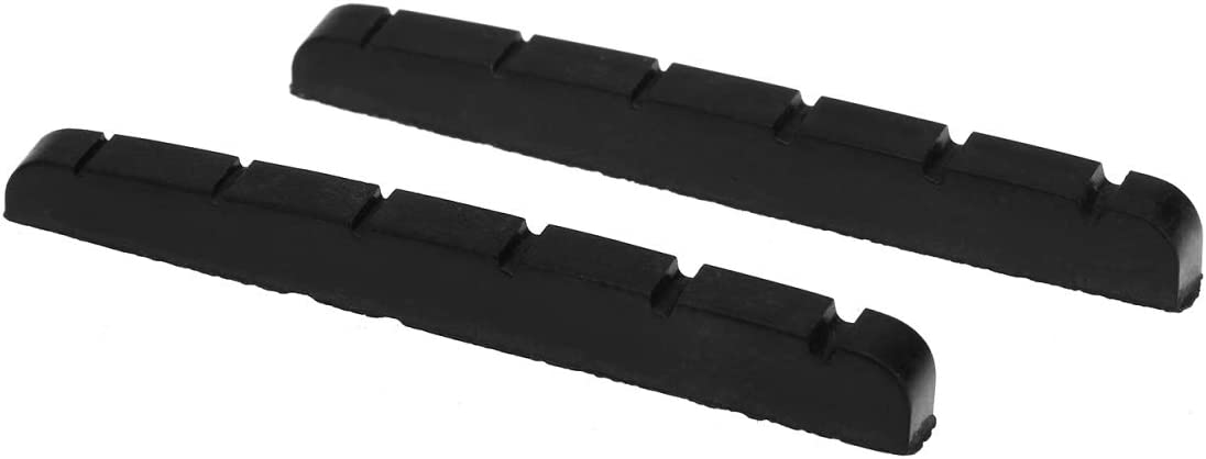 Musiclily Plástico de Resina Urea Ranurada 43mm Cejuela Superior Tipo Strato Tele Nut Base Plana para Guitarra Eléctrica Stratocaster/Telecaster 6 Cuerdas, Negro(2 Piezas)