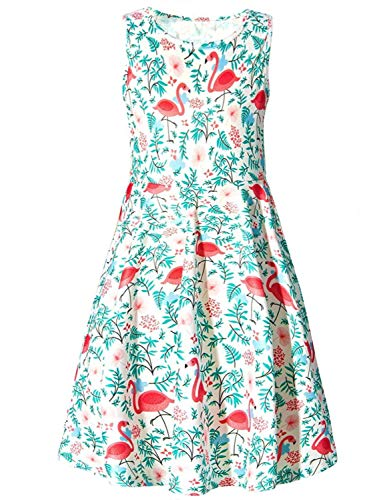 RAISEVERN Little Girls Flamingos Sleeveless Vintage Print Swing Party Beach Dresses Roung Neck Design Hawaiian/Casual/Cocktail Picnic(4-13 (Girls Sleeveless Pique)