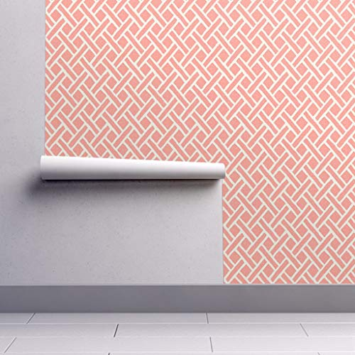 - Peel-and-Stick Removable Wallpaper - Coral Trellis Geometric Trellis Lattice Coral Summer Modern Home by Willowlanetextiles - 12in x 24in Woven Textured Peel-and-Stick Removable Wallpaper Test Swatch