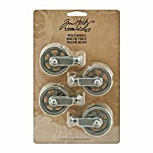 Tim Holtz Idea-ology Metal Pulley Wheels, 4-Per Pack, 2-1/8-Inch Tall, Silver Oxide Finish, TH93008