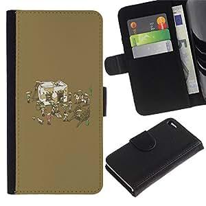 NEECELL GIFT forCITY // Billetera de cuero Caso Cubierta de protección Carcasa / Leather Wallet Case for Apple Iphone 4 / 4S // Divertido de la fiesta mexicana