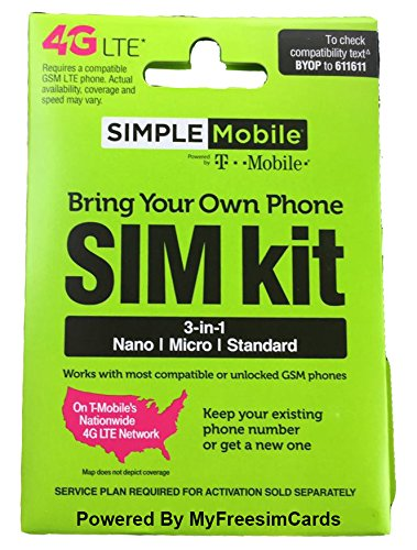 Simple Mobile Triple-Cut Sim Card With $40 Plan 6GB Data International Roaming - Usa Shipping From Argentina To