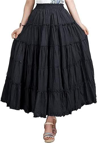 CoutureBridal Womens Elastic Tiered Boho Long Circle Broomstick Peasant Skirt Dance