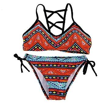 RoadRomao Mujeres Sexy Bikini Palabra de Honor Push-up Sujetador del Traje de baño del Traje de baño Retro Ropa de Playa: Amazon.es: Hogar