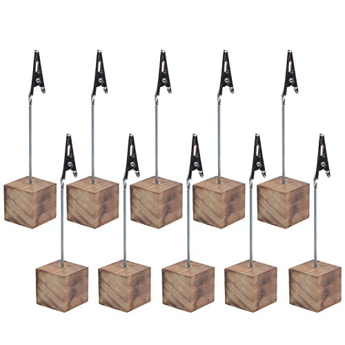- Cosmos® 10 Pcs Lightweight Cube Base Memo Clips Holder with Alligator Clip Clasp for Displaying Number Cards (Wooden Base)