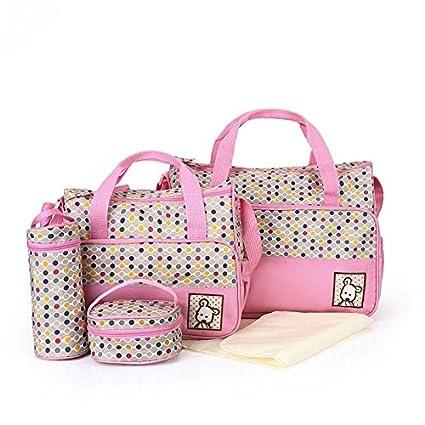 Babyhugs® 5pcs Bebé Pañales Cambiar Pañales Messenger Hospital Maternidad Bolsa Set con diseño de lunares de colores, color rosa