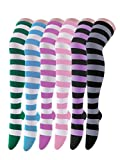 Women's Extra Long Opaque Striped Over Knee High Stockings Socks, 6 Pairs K, One Size