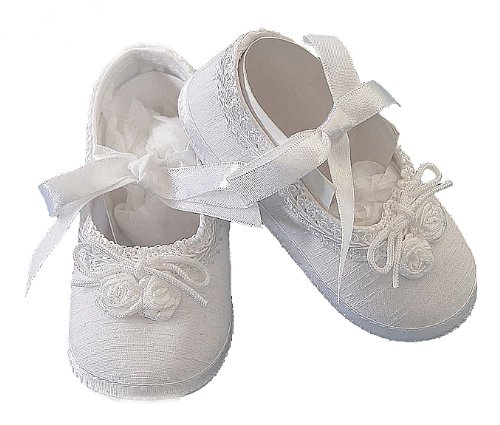 Lauren Madison Baby girl Christening Baptism Shantung Ballerina Slipper, White, Small from Lauren Madison