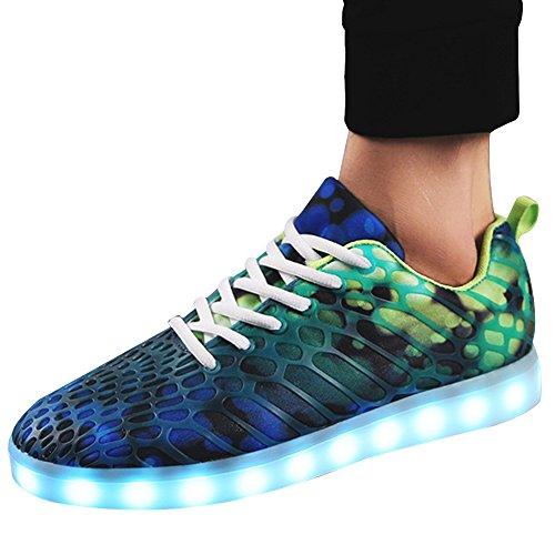 Unisex Herren Frauen Led Schuhe Leuchtschuhe Light-Up Sneakers Laufschuhe Sportschuhe Freizeitschuhe USB aufladung Größe 35-45 8 Farbe zur Wahl von QIMAOO Grün