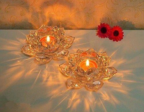 Infinitely Great Home Decor Center 2pcs Porte-Bougies en Cristal Crystal Votive Pillar Figurine de Fleur de Lotus