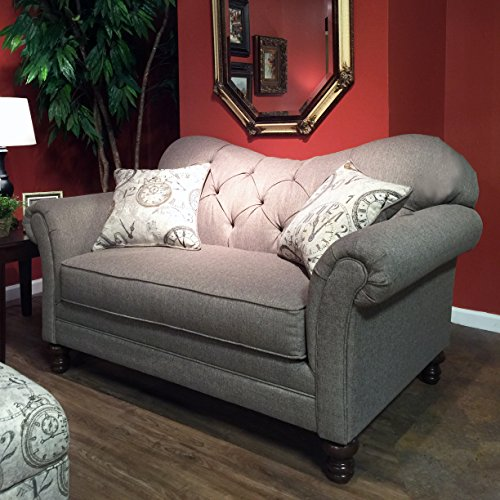 Roundhill Furniture Metropolitan Taupe Fabric Upholstery Wood Frame Loveseat with Pillows