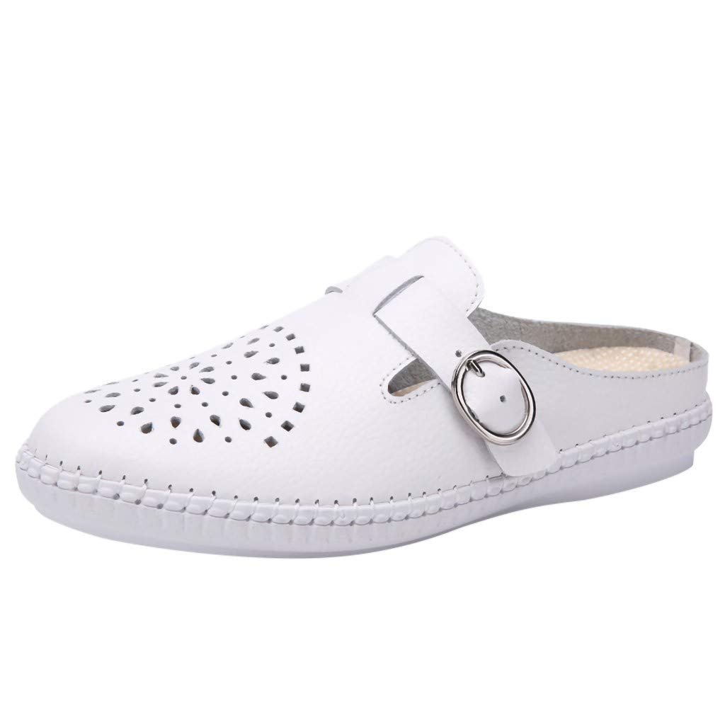 New in Respctful✿Women Mules Shoes Flats Summer Slide Mule Moccasins Buckle Penny Slip-On Backless Loafer White