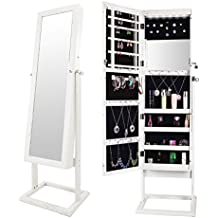 """Bonnlo 6 LEDs Jewelry Armoire Cabinet Square Stand,Free Standing Lockable Bedroom Make up Organizer with 4 Angle Adjustable & 2 keys & 2 Mirrors Tilting Steady Base Heavy Duty Wood Storage White, 53""""H"""