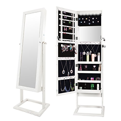 Bonnlo Jewelry Armoire Cabinet Closet Square Stand with 6 LEDs,Full Length Mirrored & Inside Mirror,Lockable 4 Angle Adjustable Steady