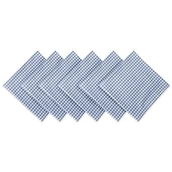 DII CAMZ38933 Napkin, Set, Light Blue Check 6 Count