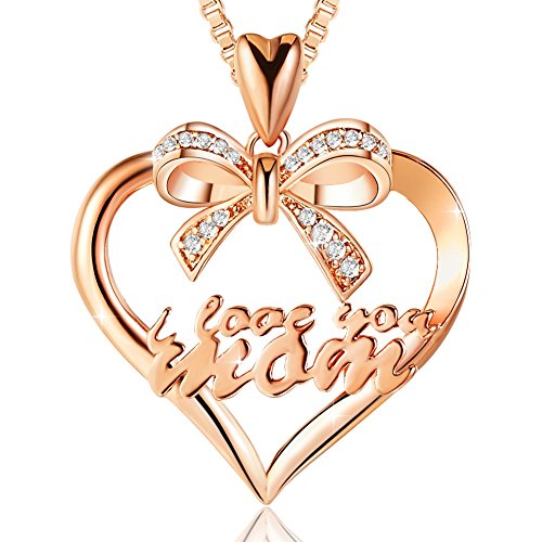 Ado Glo Mother's Birthday Gift 'I Love You Mom' Bowknot Heart Pendant Necklace, Rose Gold Fashion Jewelry for Women, Anniversary Present from Husband Daughter Son to Her