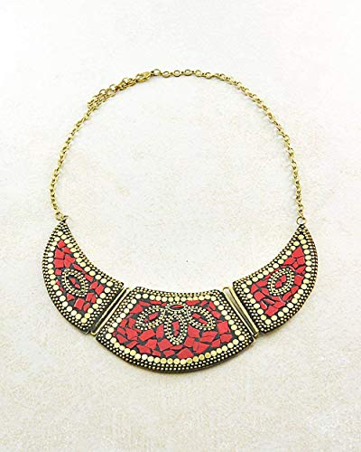 Sivalya Bohemian Style Fashion Bib Collar Necklace with Turquoise and Red Coral Inlay Gold Plated Jewelry for ()