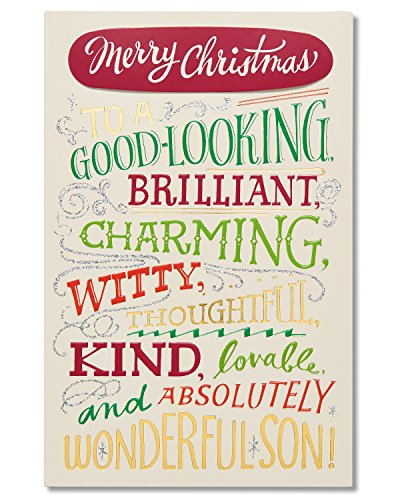 American Greetings Funny Wonderful Traits Christmas Card for Son with Glitter