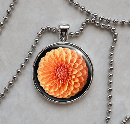 Dahlia Orange Color Flower Pendant Necklace