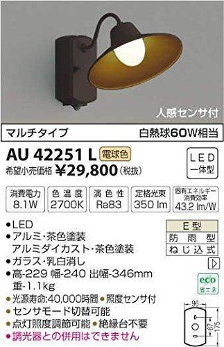 AU42251L 電球色LED人感センサ付アウトドアポーチ灯 B01GCAY9Z8 12680