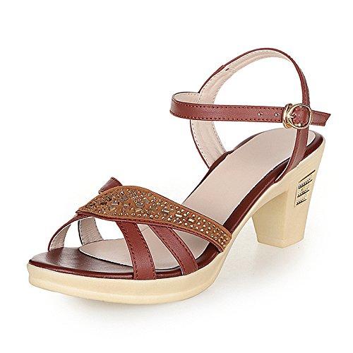 Moda Mujer verano sandalias confortables tacones altos,36 la luz púrpura Brown