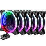 upHere 5-Pack Wireless RGB LED 120mm Case Fan,Quiet Edition High Airflow Adjustable Color LED Case Fan for PC Cases RGB123-5