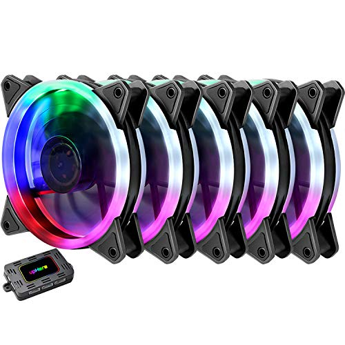 upHere RGB Series Case Fan RGB123-5, Wireless RGB LED 120mm Fan,Quiet Edition High Airflow Adjustable Color LED Case Fan PC Cases-5 Pack