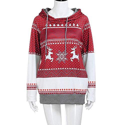 Collo Chic Divertente Premium rot Cappuccio Donna Con Pullover B A Maglione Da Di Contrasto Alto Felpa Natale Lungo SIwBYz