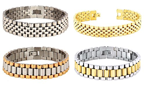 The Jewelbox 316L Surgical Stainless Steel 22K Gold Rhodium Bracelet For (Gents Gold Bracelet)