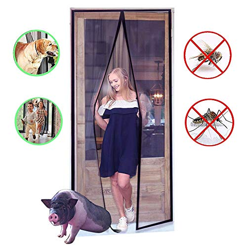 YUFER Magnetic Screen Door 36×82 Reinforced Fiberglass Mesh Curtain with Sliding Door Screen, Full Frame Velcro Screen Door - Fits Door Size up to 36