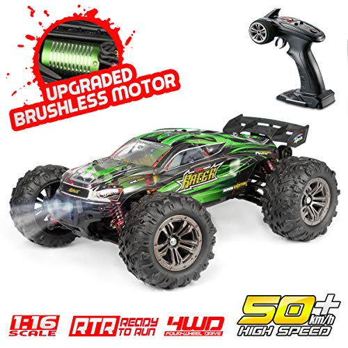 Hosim RC Car 1:16 Scale 2847 Brushless Remote Control RC Monster Truck , All Terrain 4WD High Speed 50km/h Off-Road Waterproof/Shockproof/Anti-Skid 2.4G Radio Controlled RTR Hobby Car(Green)