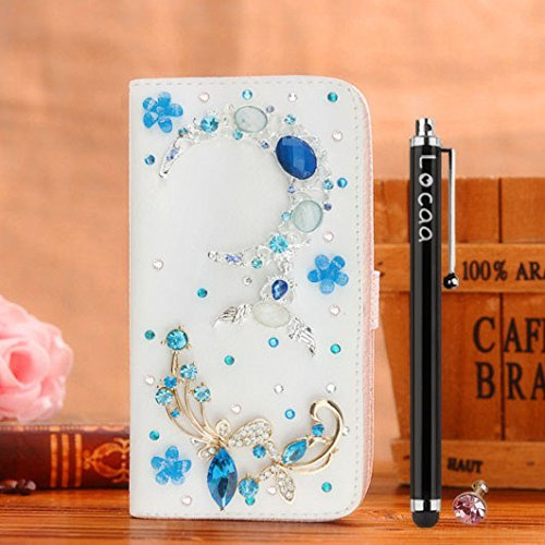 Mini D-pad Crystal Cover (Locaa(TM) Apple IPhone 5 5G 5S Bling 3D Crystal Pearl Diamond Rhinestone Eyecatching Beautiful Leather Folio Support Smart Cover With Card Holder Case - [General series] flower sister1)