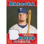 Hank Blalock player worn jersey patch baseball card (Texas Rangers) 2006 Topps.