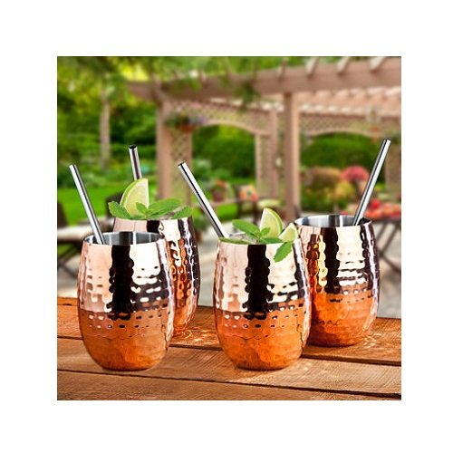 Godinger 4 Pack Handmade Insulated Copper Cocktail Set Plus 4 Stainless Steel Straws With Decorative Box