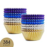 #4: Prodigen Foil Cupcake Liners Baking Muffin Paper Cases Silver & Gold & Purple & Blue 4 Colors Cake Baking Cups for Birthday, Wedding, Party, Festival for Boys, Girls, Kids, Adults(2 Packs)