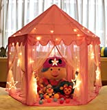 Monobeach Kids Indoor Princess Castle Play tent, 55*53 inches Outdoor Fairy House for Child (Pink)