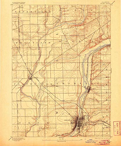 - YellowMaps Joliet IL topo map, 1:62500 Scale, 15 X 15 Minute, Historical, 1892, Updated 1905, 19.4 x 16.1 in - Polypropylene