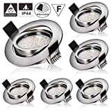 LED Recessed Downlights,Azhien 5W Recessed Ceiling Spotlights Warm White 2700K 400LM 230V Open Hole Size 75mm Ultra Slim Not Dimmable, IP44 Rotatable Downlights for Kitchen Bathroom (Pack of 6)