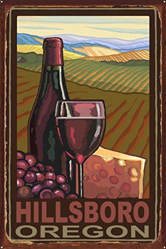 Hillsboro Oregon Wine Country Rustic Metal Art Print by Paul A. Lanquist (24