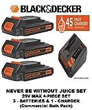 BLACK+DECKER 20V MAX Lithium Battery Charger, 2 Amp (BDCAC202B) & (3) BLACK+DECKER LBXR20CK 20V Max 1.5Ah Lithium Ion Batteries (4- PIECE SET)