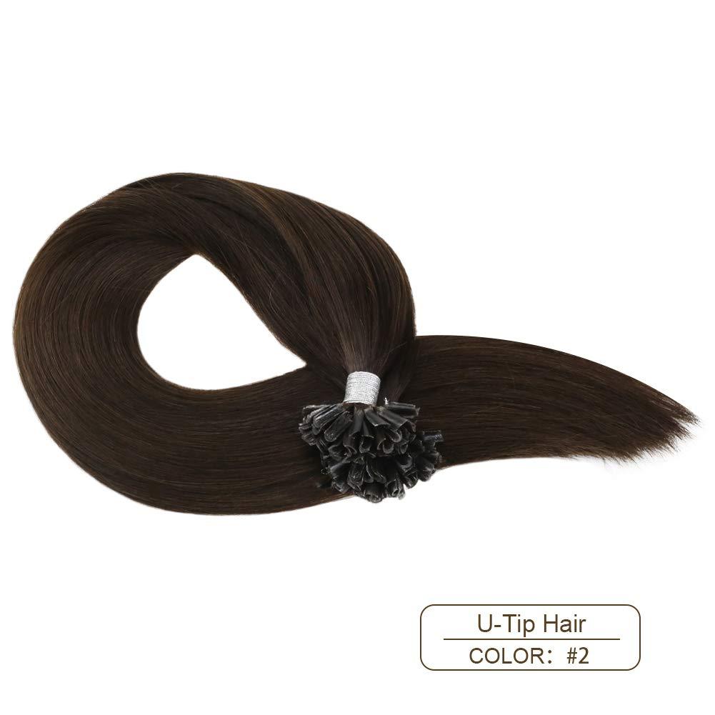 B078MGYRNY Ugeat Prebonded Human Hair Extension 18inch Nail Tip Keratin Hair Extensions Darkest Brown #2 U Tip Hair Extensions 100Gram Glue in Hair Extensions Human Hair 51mxzi9HiuL