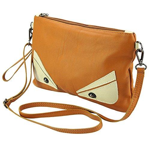 6128 Leather Cuir Florence Vrai Market Vachette De Teodora Clair La En Pochette marron 6qqpwx