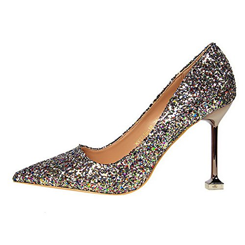 Heels Pull High Shoes Sequins Odomolor Solid on Pumps Closed AmagooTer Multicoloured Women's Toe 6OHtY