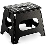 Folding Step Stool - 11' Wide - The Lightweight Step Stool is Sturdy Enough to Support Adults and Safe Enough for Kids. Opens Easy with One Flip. Great for Kitchen, Bathroom, Bedroom, Kids or Adults.