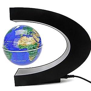 Senders Floating Globe with LED Lights C Shape Magnetic Levitation Floating Globe World Map for Desk Decoration (Dark…