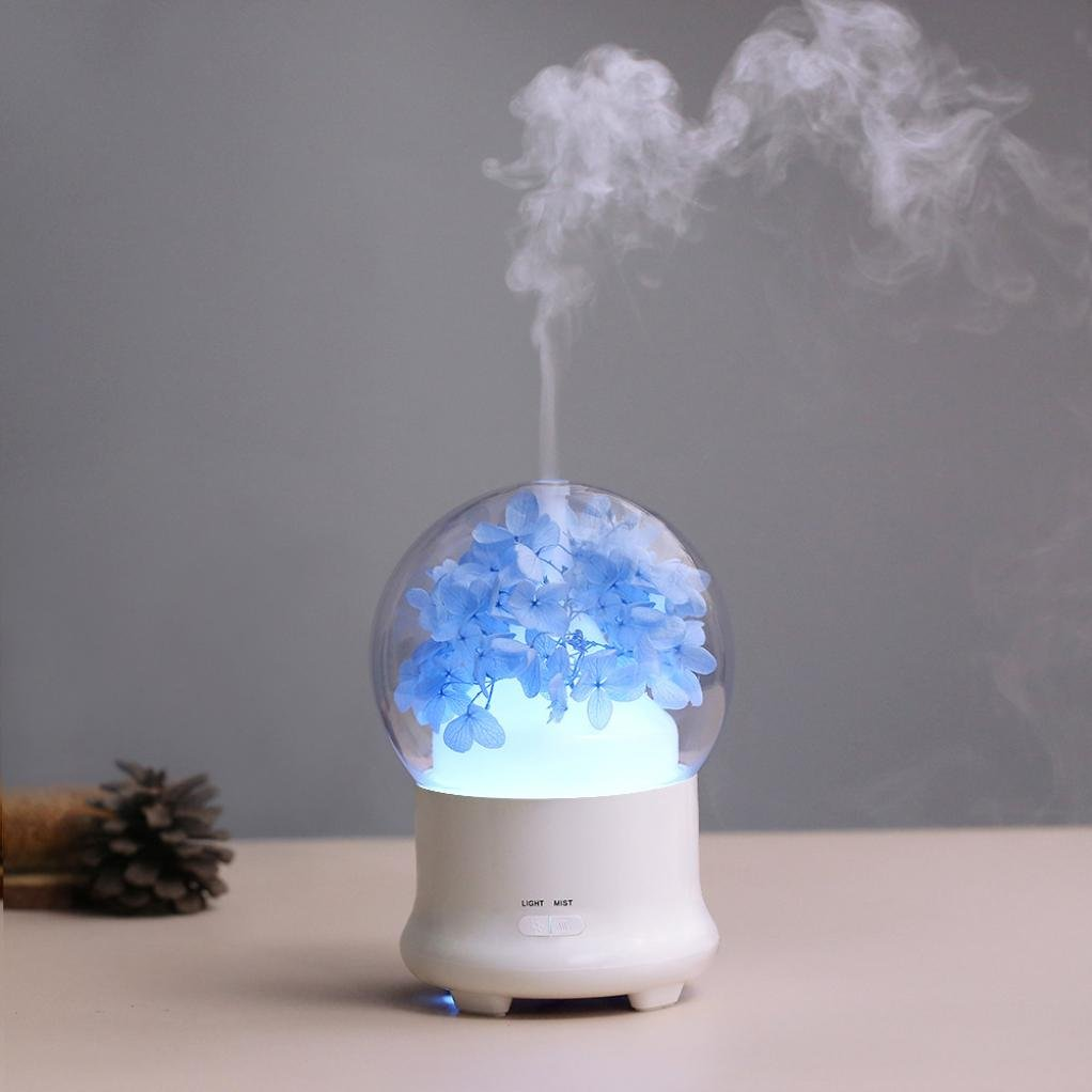 Coerni 100ml Immortal Dried Flower Portable USB LED Glowing Humidifier Essential Oil Diffuser Aromatherapy for Car, Office, Home (Blue Cherry Blossoms)