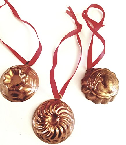 Copper Molds Pear, Swirl and Flower Bottoms (Set of 3) - Antique Vintage Collectible ()